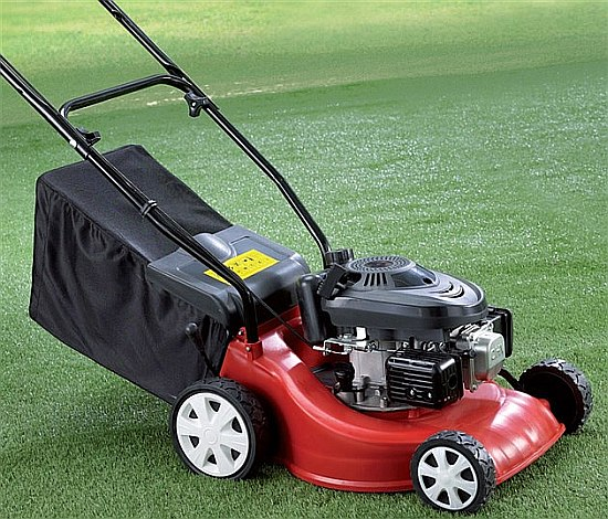 A cheap basic petrol lawn mower from studio the garden for Garden shed for lawn mower